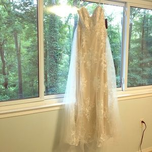 Never-worn lace and tulle wedding dress!
